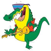 funny rock and roll crocodile music cartoon cut out by tooni_dooni