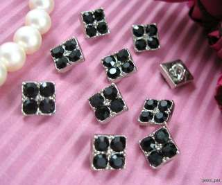 10 Sparkling Crystal Rhinestone Square Buttons #B345