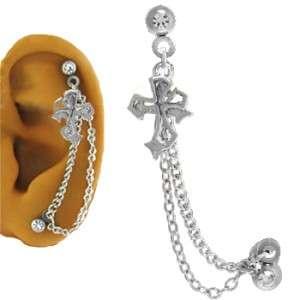 316L SS Ear Cartilage Piercing Earring Ring Chain Cross