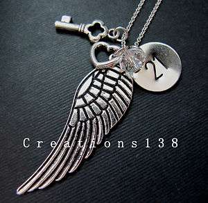 21st Birthday Gifts Angel Wing Heart Key Crystal Charm Necklace