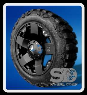 ROCKSTAR MATTE BLACK WHEELS W/ NITTO MUD GRAPPLER TIRES AND LUG KIT