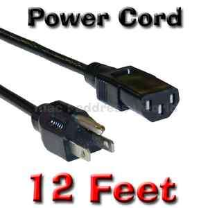 Extra Long Plasma LCD LED TV Power Cord 12ft Cable Panasonic LG Sharp