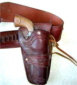 Western Style Brown Leather Ammo Rig Belt & Holster Revolver Pistol