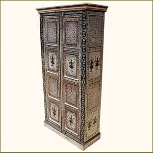 Antique Black & White Hand Painted Rustic Wardrobe Armoire Cabinet