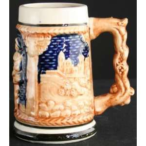 Vintage German Barware Ceramic Beer Stein Man Woman Couple
