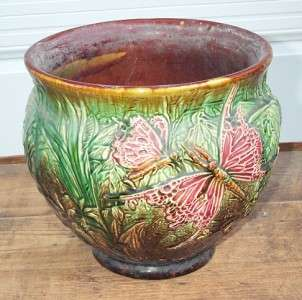 Antique Majolica Pottery Butterfly Dragonfly Jardiniere Weller Brush