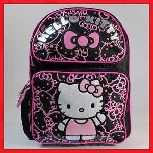Kitty Black Glitter 14 Backpack   Bag School Girls Kids   MED