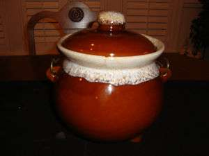 McCoy Footed Brown Drip Bean Pot wi Wire Handle |