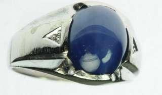 MENS 10K SOLID WHITE GOLD BLUE STAR SAPPHIRE DIAMOND ESTATE RING