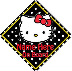 Personalised Baby On Board Car Sign Hello Kitty B WPDs