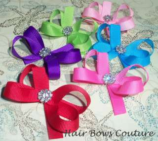 Wholesale Boutique Infant Toddler Hair Bows No Slip Grips Handmade