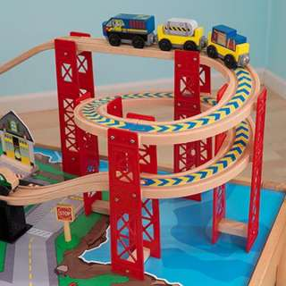 Piece Wood Toy Train Set & Table Airport Brio Thomas Compatible