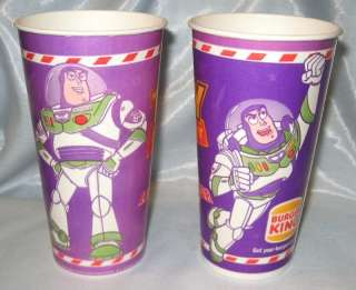 Disney Toy Story Cups Buzz Lightyear Burger King 1995