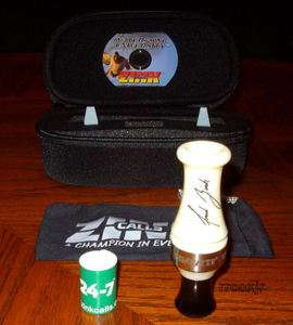 ZINK CALLS XR 2 ACRYLIC DOUBLE REED DUCK CALL+CASE+DVD+BAND IVORY