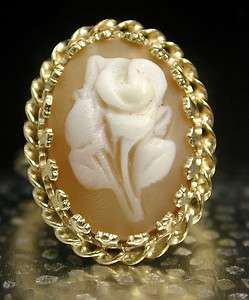 CAMEO SHELL Ring FLOWER 14KT YELLOW GOLD FILIGREE OVAL Cameo RING