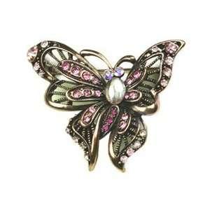 Pink Austrian Rhinestone Brass Tone Butterfly Brooch Pin Jewelry