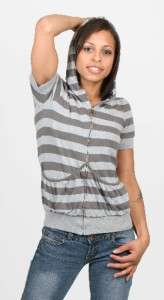 Small Short Sleeve Forever 21 gray cotton womens zip front hooded