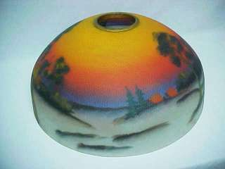 Antique Reverse Painted Glass Lamp Shade Sunset Landscape