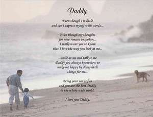 DADDY PERSONALIZED POEM FATHERS DAY GIFT FROM SON