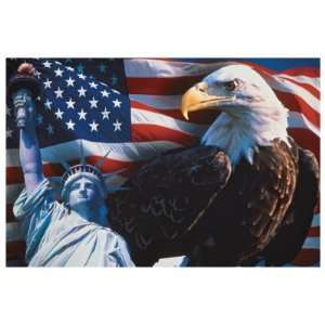 American Flag, Eagle and Statue of Liberty Giclee Poster