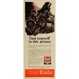 1942 Ad Electric Storage Battery Exide World War II