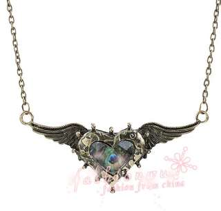 Nice Heart peacock Feather Rhinestone Angel Wing Necklace