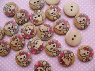 30 Lt. Brown Wood Hello Kitty Print Buttons/Kids 20mm