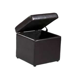 Transitional Brown Cocktail Table Storage Ottoman Set