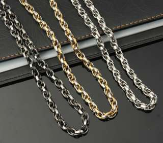 Gold Necklace Silver Chain Link Stainless Steel Choker Mens Vogue