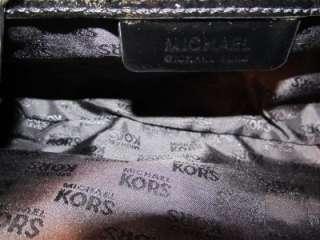 Michael Kors black patent leather & gold evening handbag purse clutch