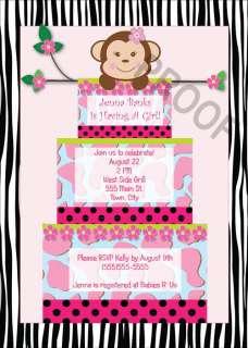 Girl Monkey CAKE BABY SHOWER INVITATIONS BIRTHDAY PARTY PRINTABLE