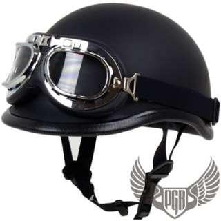 Flat Black Polo Motorcycle Half Helmet Goggle Novelt XL