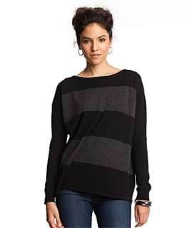 CeCe black stripe cashmere boxy boat neck sweater