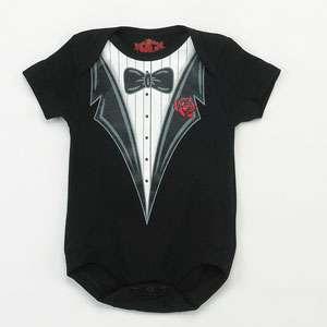 BON BEBE ADORABLE TUXEDO ONESIE 3 INFANT SIZES NEW ADORABLE BABY BOY