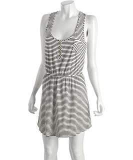 Shoshanna white and black striped jersey racerback coverup