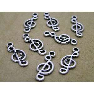 Set 10 Silver Tone Musical Note Music Charm Connectors or Bails 19mm x