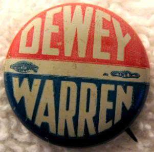 1948 Dewey Warren President Election Campaign Pin Red White Blue