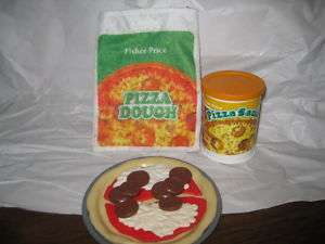 Fisher Price Fun with Food Pizza Dough Sauce Can Bag Toppings Cheese