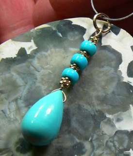 NATURAL UNTREATED ARIZONA SLEEPING BEAUTY TURQUOISE 14K GOLD PENDANT