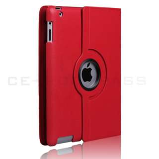 iPad 2 Magnetic Smart Cover Leather Case Rotating Stand Black BLK
