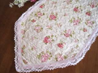 Pink Rose Crochet Lace Cotton Quilted Table Runner 178CM