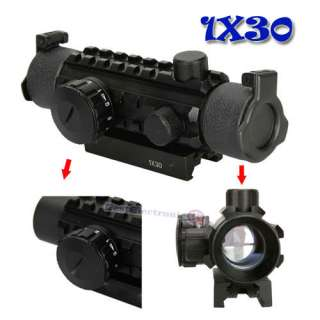 1x 30 Fish Bone Red Green Dot Sighting Scope Rifle Scope