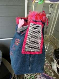UPCYCLED PET CARRIER PURSE & SWEATER ENSEMBLE FOR SM. BREED DOGS