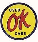 Vintage OK USED CARS Vinyl Decal Sticker Mopar Ford GM