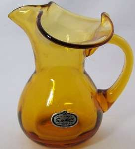 Rainbow hand blown amber glass small pitcher 4 USA